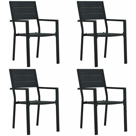 vidaXL Garden Chairs 4 pcs Black HDPE Wood Look - Black