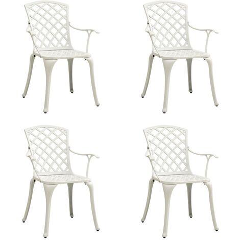 vidaXL Garden Chairs 4 pcs Cast Aluminium White - White
