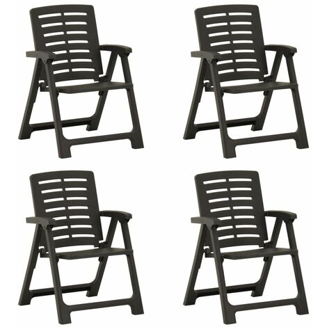 vidaXL Garden Chairs 4 pcs Plastic Anthracite - Anthracite