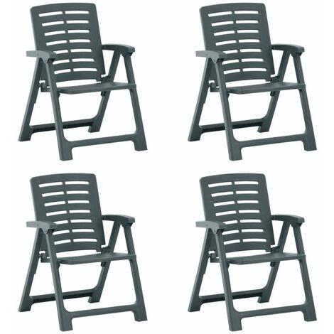vidaXL Garden Chairs 4 pcs Plastic Green - Green