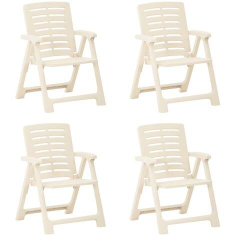 vidaXL Garden Chairs 4 pcs Plastic White - White