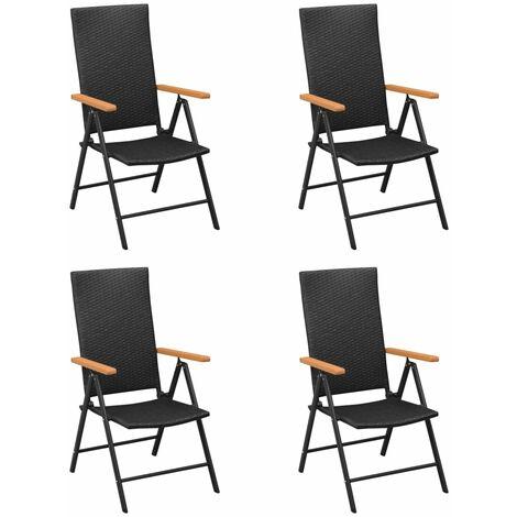 vidaXL Garden Chairs 4 pcs Poly Rattan Black - Black