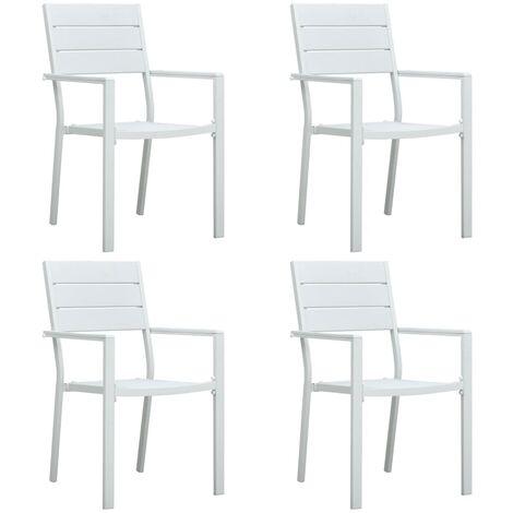 vidaXL Garden Chairs 4 pcs White HDPE Wood Look - White