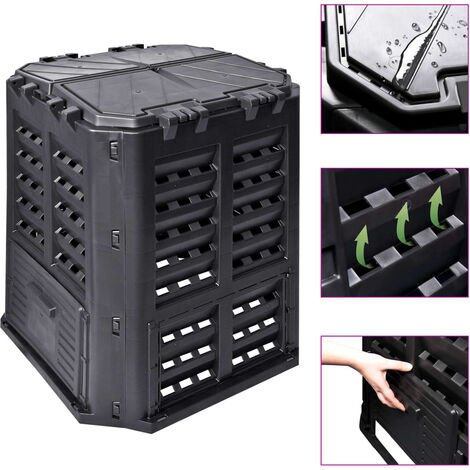 vidaXL Garden Composter Black 68.9x68.9x83.9 cm 360 L - Black