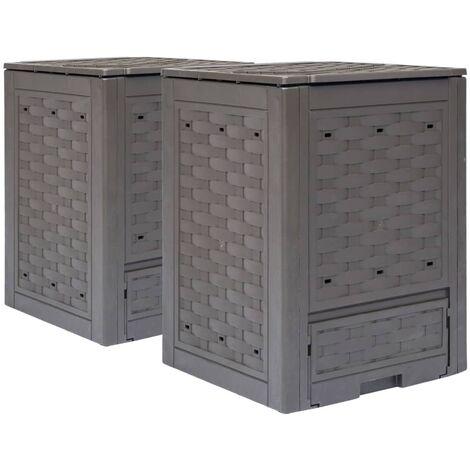 vidaXL Garden Composters 2 pcs Brown 60x60x83cm 600 L - Brown
