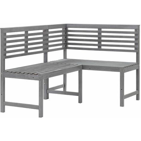 vidaXL Garden Corner Bench Grey 140 cm Solid Acacia Wood - Grey