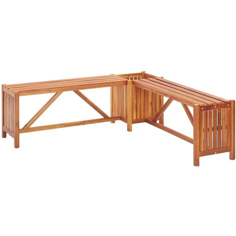 vidaXL Garden Corner Bench with Planter 117x117x40cm Solid Acacia Wood - Brown