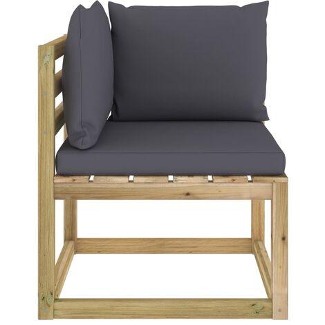 "main image of ""vidaXL Garden Corner Sofa with Cushions Green Impregnated Pinewood"""