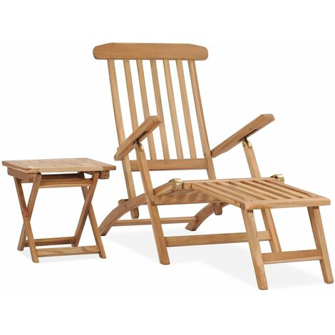 vidaXL Garden Deck Chair with Footrest and Table Solid Teak Wood - Brown