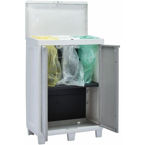 vidaXL Garden Dustbin with 3 Bags Trash Bin Waste Bin Dark Grey/Light Grey
