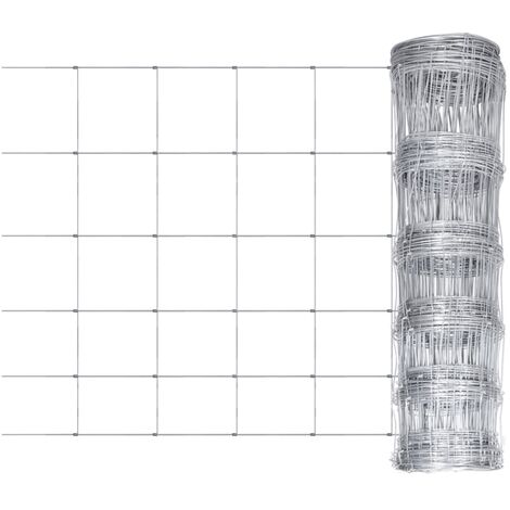 vidaXL Garden Fence Galvanized Steel Lawn Outdoor Patio Forest Chain Mesh Fence Post Set Wire Fencing Animal Barrier Border Panel Multi Sizes