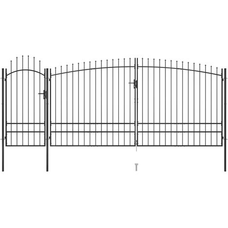 vidaXL Garden Fence Gate with Spear Top 5x2.45 m Black - Black