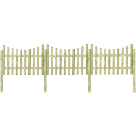 vidaXL Garden Fence with 4 Posts Impregnated Pinewood 510x120 cm - Green