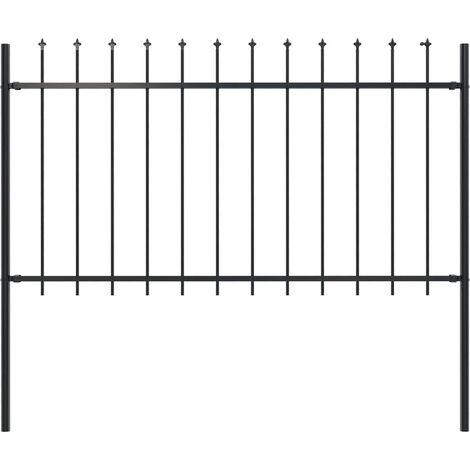 "main image of ""vidaXL Garden Fence with Spear Top Steel 1.7x1 m Black - Black"""