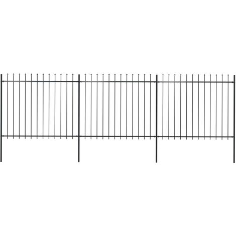 "main image of ""vidaXL Garden Fence with Spear Top Steel 5.1x1.5 m Black - Black"""