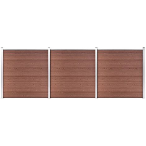 vidaXL Garden Fence WPC 526x186 cm Brown - Brown
