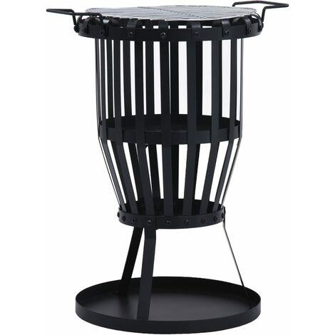 vidaXL Garden Fire Pit Basket with BBQ Grill Steel 47.5 cm - Black