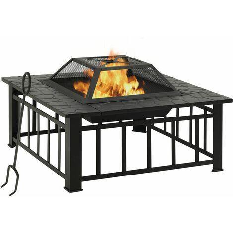 vidaXL Garden Fire Pit with Poker 81x81x47 cm XXL Steel - Black