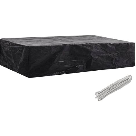 vidaXL Garden Furniture Covers 2pcs 4 Person Poly Rattan 113x113cm - Black