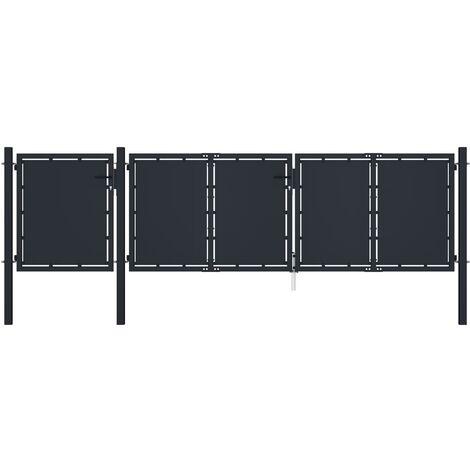 vidaXL Garden Gate Metal 4x1.5 m Anthracite - Anthracite
