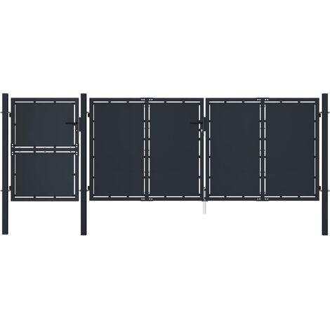 vidaXL Garden Gate Metal 4x1.75 m Anthracite - Anthracite