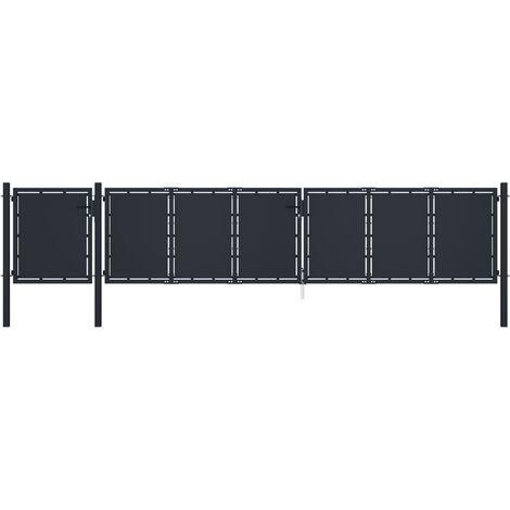 vidaXL Garden Gate Metal 5x1.5 m Anthracite - Anthracite