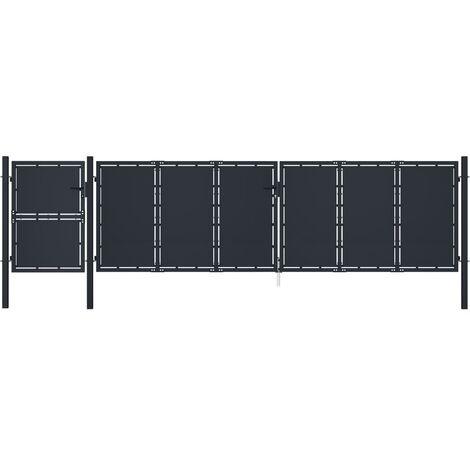 vidaXL Garden Gate Metal 5x1.75 m Anthracite - Anthracite