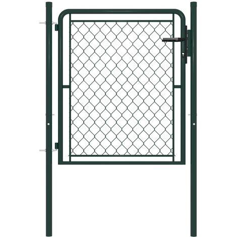 vidaXL Garden Gate Steel 100x100 cm Green - Green