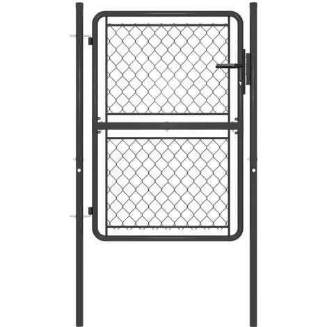 vidaXL Garden Gate Steel 100x150 cm Anthracite - Anthracite