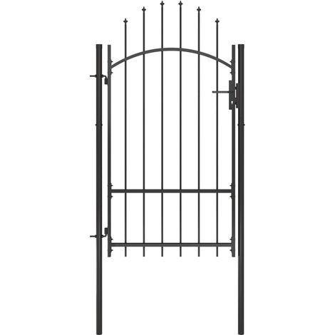 vidaXL Garden Gate Steel 1x2.2 m Black - Black