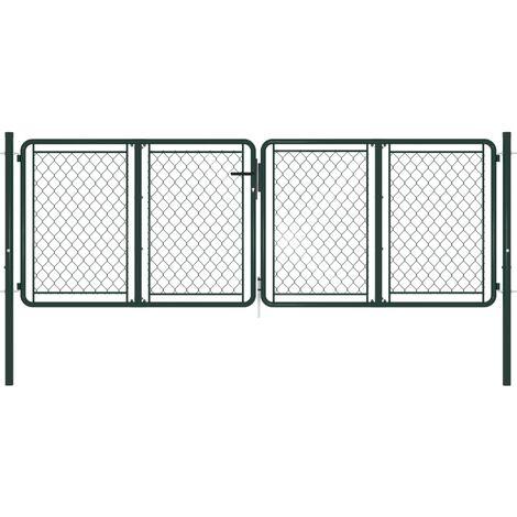 vidaXL Garden Gate Steel 300x75 cm Green - Green