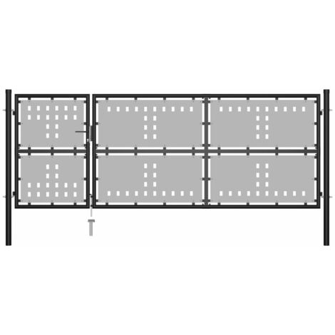 vidaXL Garden Gate Steel 350x125 cm Black - Black