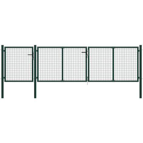 vidaXL Garden Gate Steel 400x100 cm Green - Green