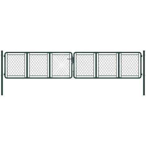 vidaXL Garden Gate Steel 400x75 cm Green - Green