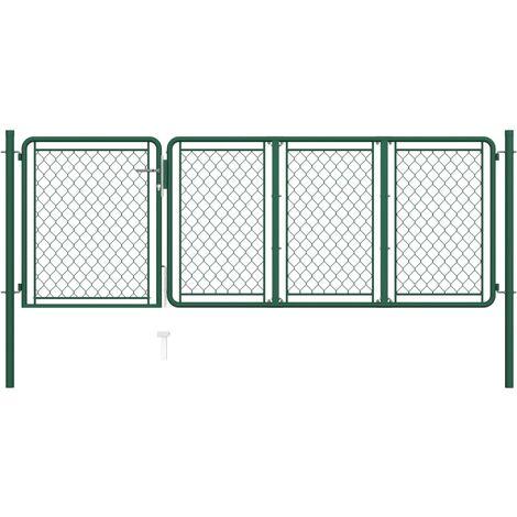 vidaXL Garden Gate Steel 75x350 cm Green - Green