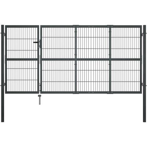 vidaXL Garden Gate with Posts Steel 350x120 cm Anthracite - Grey