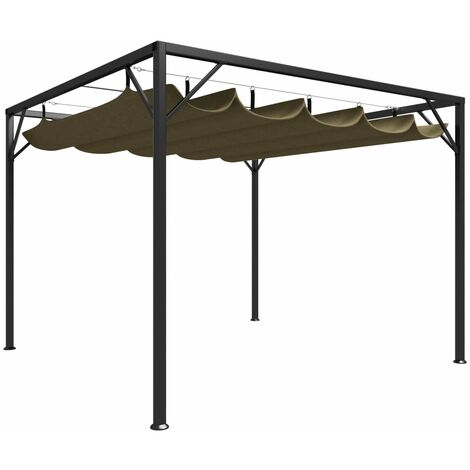 vidaXL Garden Gazebo with Retractable Roof 3x3 m Taupe 180 g/m² - Taupe