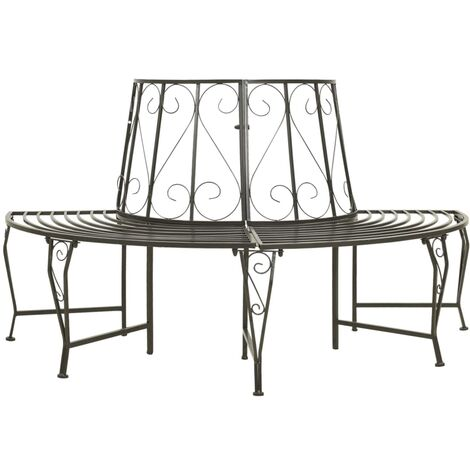 "main image of ""vidaXL Garden Half Round Tree Bench 160 cm Steel - Grey"""