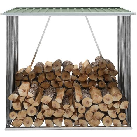 vidaXL Garden Log Storage Shed Galvanised Steel 163x83x154 cm Green - Green