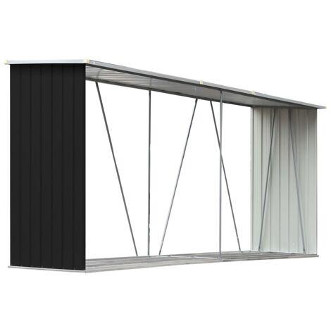 vidaXL Garden Log Storage Shed Galvanised Steel 330x84x152 cm Anthracite - Anthracite