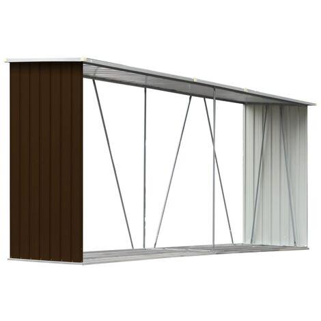 vidaXL Garden Log Storage Shed Galvanised Steel 330x84x152 cm Brown - Brown
