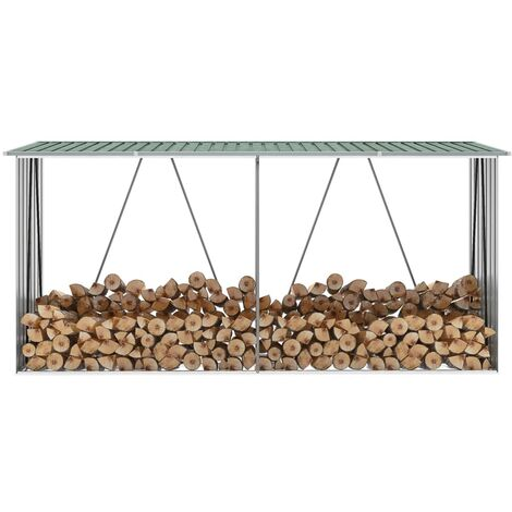 vidaXL Garden Log Storage Shed Galvanised Steel 330x84x152 cm Green - Green