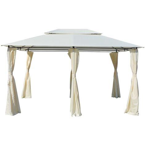 vidaXL Garden Marquee with Curtains 4x3 m White - White