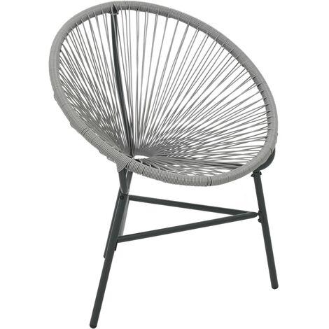 vidaXL Garden Moon Chair Poly Rattan Grey - Grey