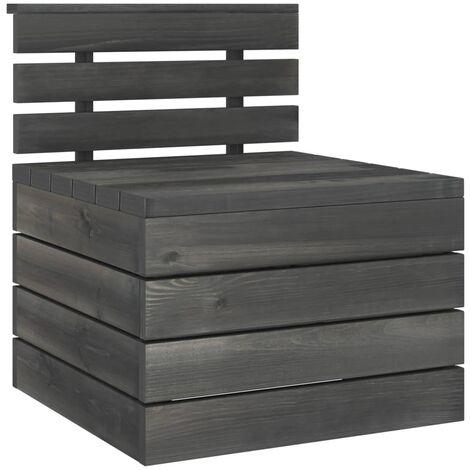 vidaXL Garden Pallet Middle Sofa Solid Pinewood Dark Grey - Grey