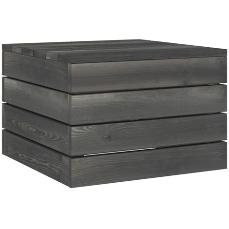 vidaXL Garden Pallet Table Solid Pinewood Dark Grey - Grey
