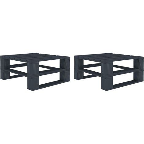 vidaXL Garden Pallet Tables 2 pcs Grey Wood - Grey