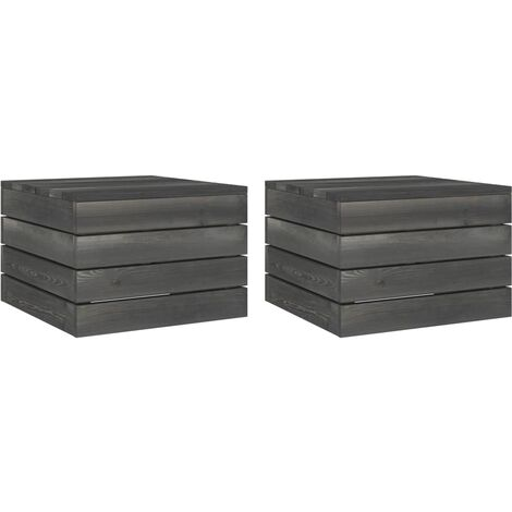 vidaXL Garden Pallet Tables 2 pcs Solid Pinewood Dark Grey - Grey