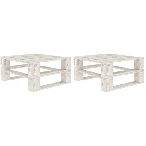 vidaXL Garden Pallet Tables 2 pcs White Wood - White