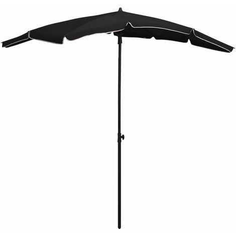 vidaXL Garden Parasol with Pole 200x130 cm Black - Black